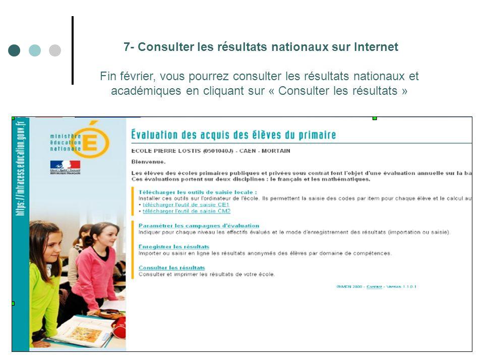 7- Consulter les résultats nationaux sur Internet Fin février, vous pourrez consulter les résultats nationaux et académiques en cliquant sur « Consulter les résultats »