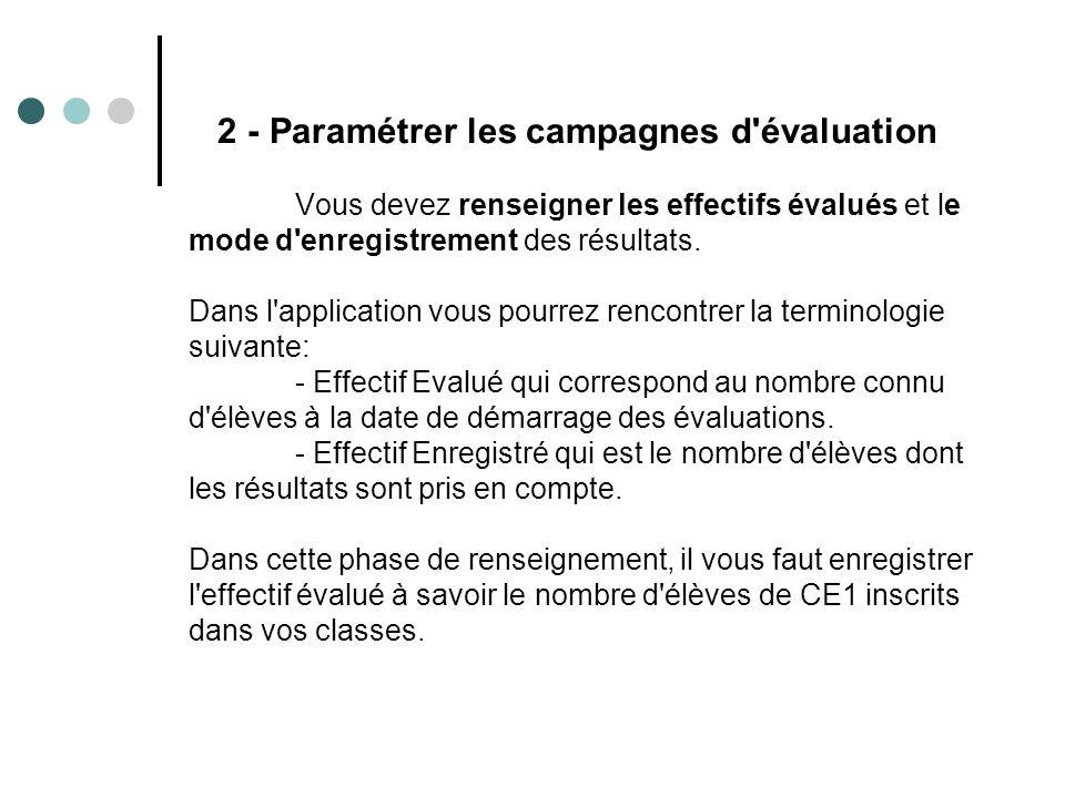 2 - Paramétrer les campagnes d évaluation Vous devez renseigner les effectifs évalués et le mode d enregistrement des résultats.