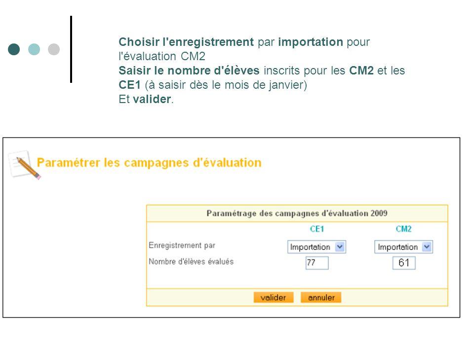 Choisir l enregistrement par importation pour l évaluation CM2 Saisir le nombre d élèves inscrits pour les CM2 et les CE1 (à saisir dès le mois de janvier) Et valider.
