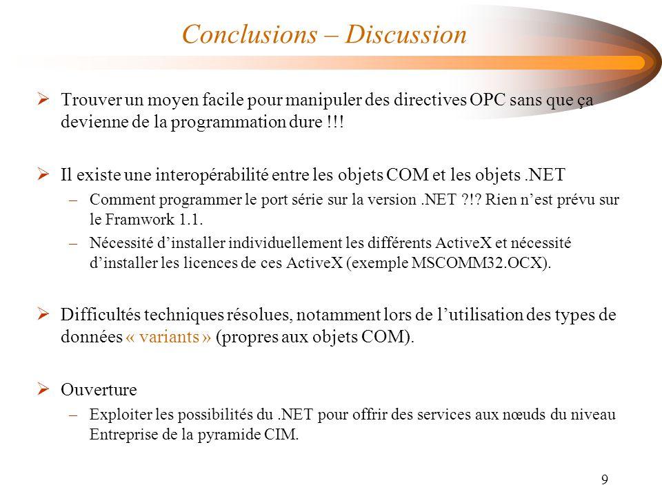 9 Conclusions – Discussion  Trouver un moyen facile pour manipuler des directives OPC sans que ça devienne de la programmation dure !!!  Il existe u