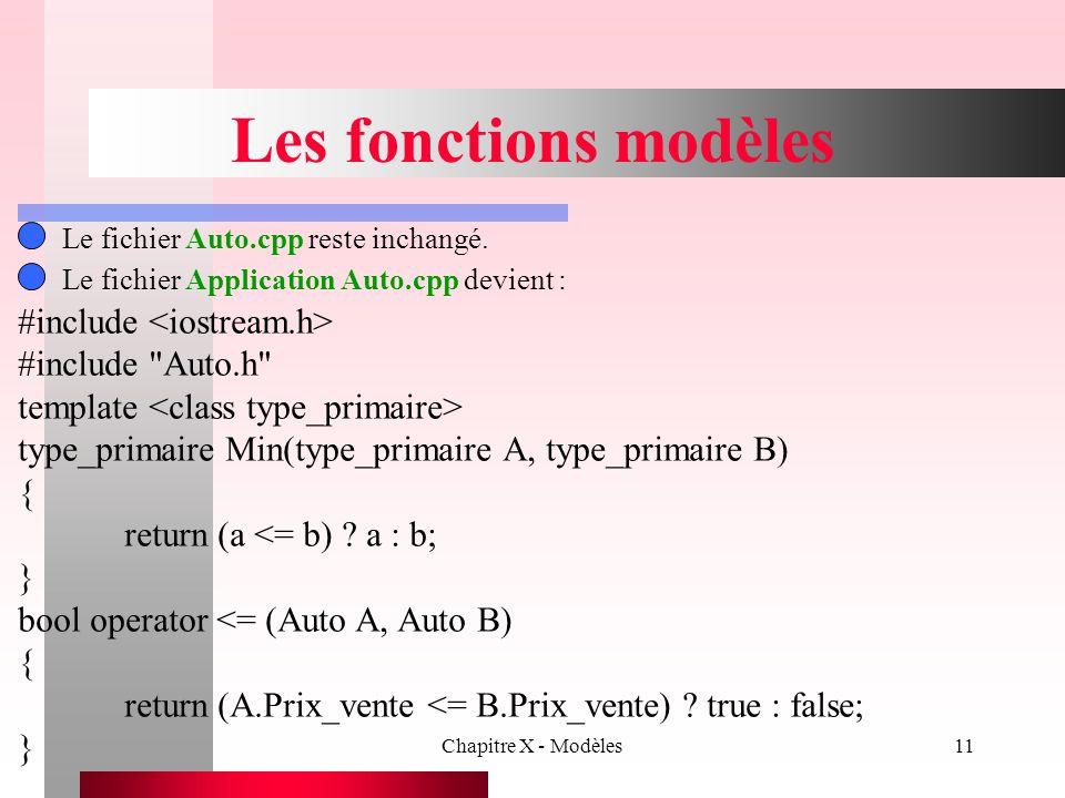Chapitre X - Modèles11 Les fonctions modèles Le fichier Auto.cpp reste inchangé. #include #include