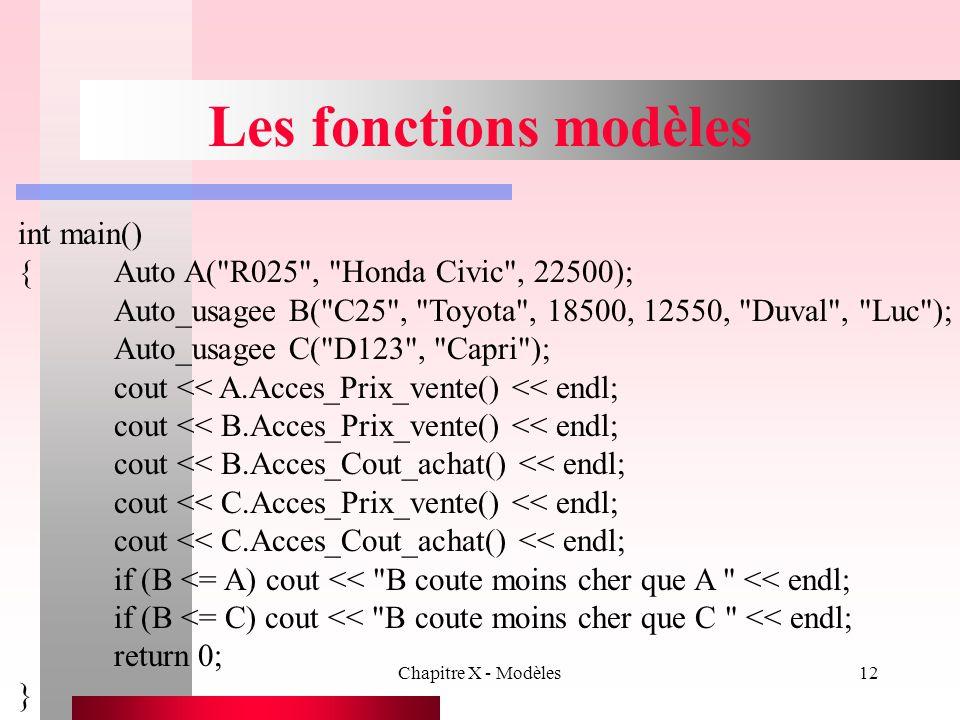 Chapitre X - Modèles12 Les fonctions modèles int main() {Auto A(