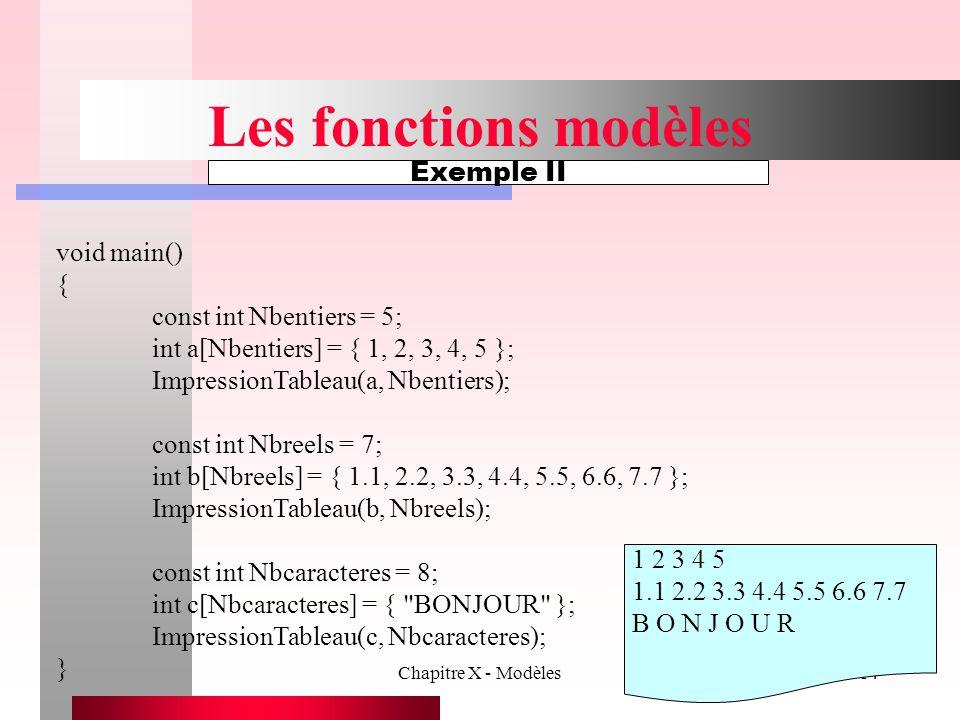 Chapitre X - Modèles14 Les fonctions modèles Exemple II void main() { const int Nbentiers = 5; int a[Nbentiers] = { 1, 2, 3, 4, 5 }; ImpressionTableau