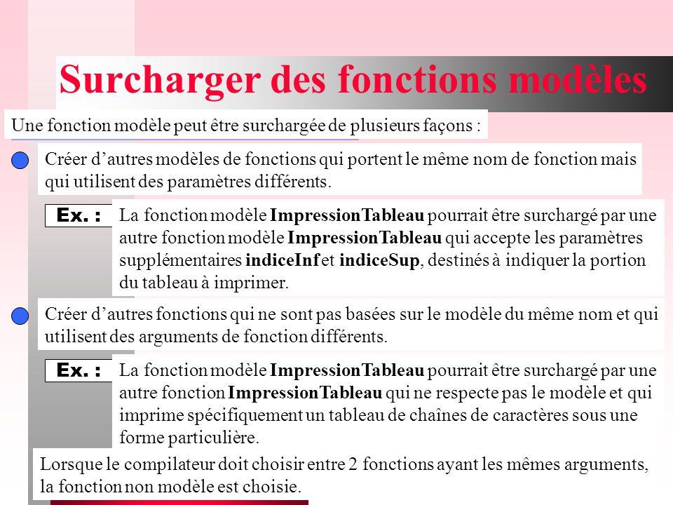 15 Surcharger des fonctions modèles Une fonction modèle peut être surchargée de plusieurs façons : Créer d'autres modèles de fonctions qui portent le