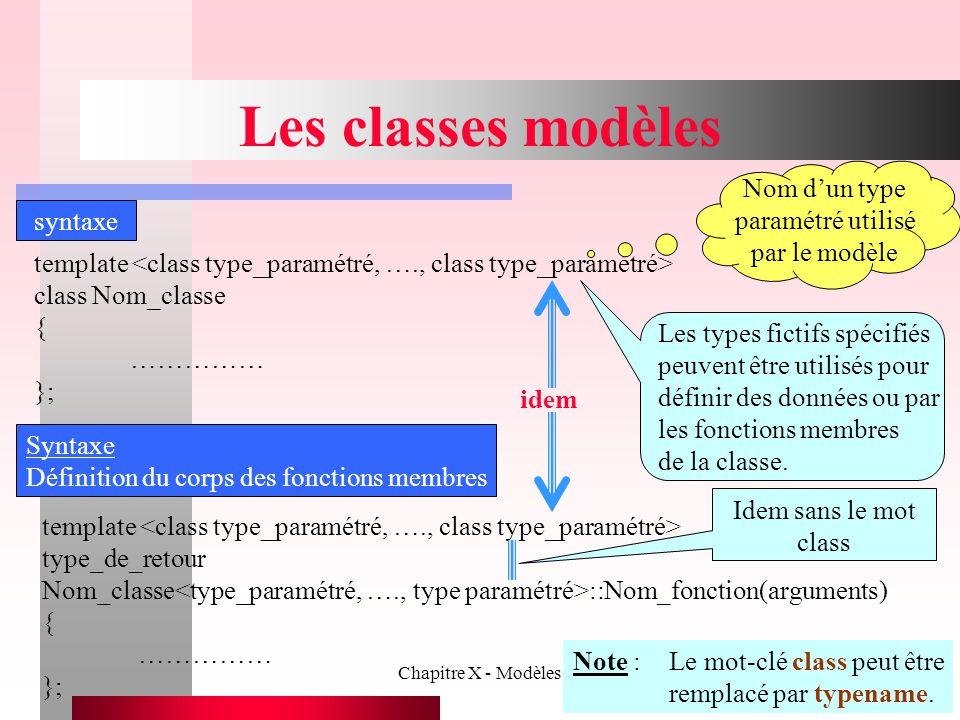 Chapitre X - Modèles16 Les classes modèles syntaxe template class Nom_classe { …………… }; Nom d'un type paramétré utilisé par le modèle Les types fictif