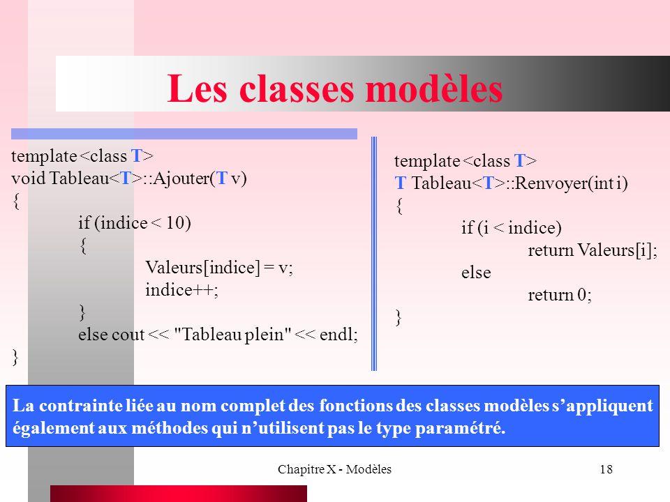 Chapitre X - Modèles18 Les classes modèles template void Tableau ::Ajouter(T v) { if (indice < 10) { Valeurs[indice] = v; indice++; } else cout <<