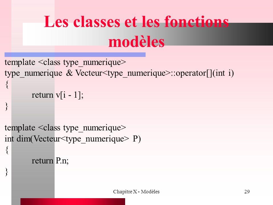 Chapitre X - Modèles29 Les classes et les fonctions modèles template type_numerique & Vecteur ::operator[](int i) { return v[i - 1]; } template int di