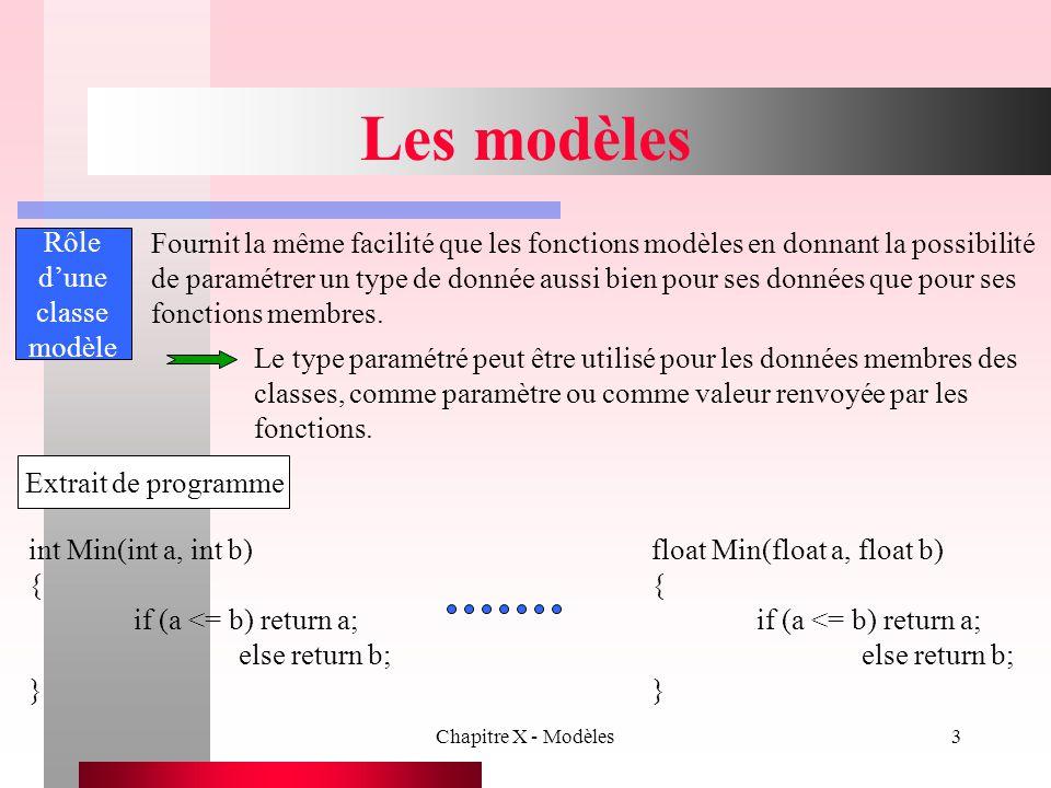 Chapitre X - Modèles14 Les fonctions modèles Exemple II void main() { const int Nbentiers = 5; int a[Nbentiers] = { 1, 2, 3, 4, 5 }; ImpressionTableau(a, Nbentiers); const int Nbreels = 7; int b[Nbreels] = { 1.1, 2.2, 3.3, 4.4, 5.5, 6.6, 7.7 }; ImpressionTableau(b, Nbreels); const int Nbcaracteres = 8; int c[Nbcaracteres] = { BONJOUR }; ImpressionTableau(c, Nbcaracteres); } 1 2 3 4 5 1.1 2.2 3.3 4.4 5.5 6.6 7.7 B O N J O U R