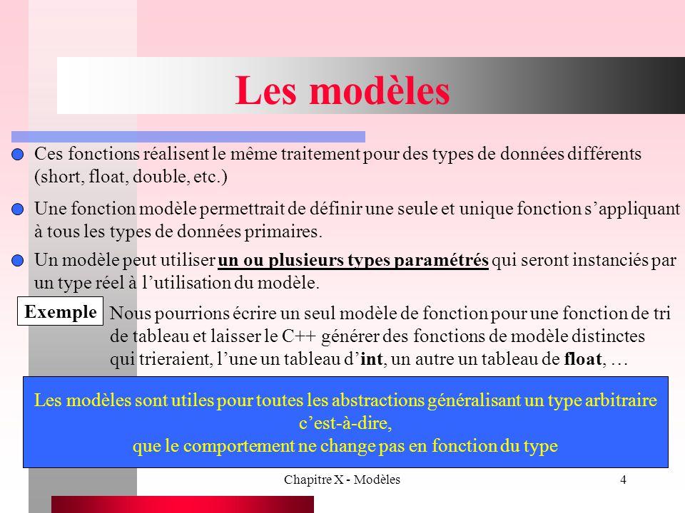 Chapitre X - Modèles55 Modèles et amitié Exemple II Soit un modèle de classe pour la classe Essai, déclaré par : template class Essai une déclaration d'amitié de la forme friend void g(Essai & Obj); pour un type T particulier tel que float fait de la fonction g (Essai & Obj) une amie de Essai seulement.