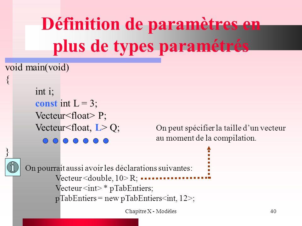 Chapitre X - Modèles40 Définition de paramètres en plus de types paramétrés void main(void) { int i; const int L = 3; Vecteur P; Vecteur Q; } On pourr