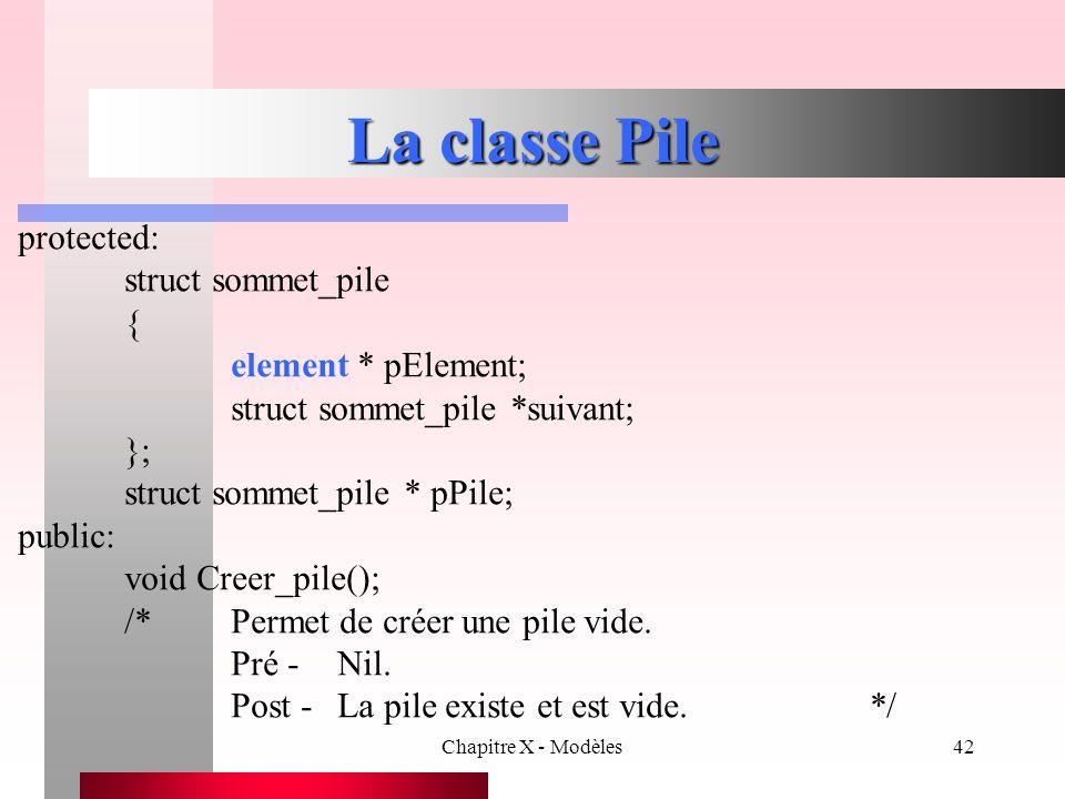 Chapitre X - Modèles42 La classe Pile protected: struct sommet_pile { element * pElement; struct sommet_pile *suivant; }; struct sommet_pile * pPile;