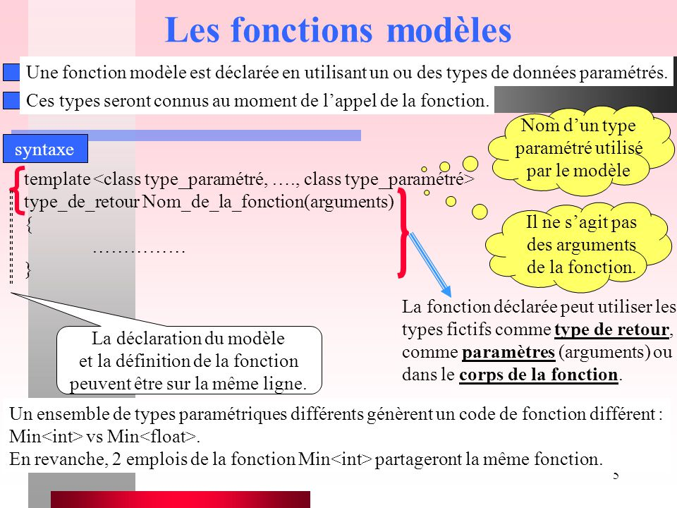 6 Les fonctions modèles template type_primaire Min(type_primaire a, type_primaire b) { if (a <= b) return a; else return b; } Extrait de programme Cette fonction modèle peut être employée avec tous les types de données à la condition que le traitement réalisé par la fonction soit supporté par ce type.