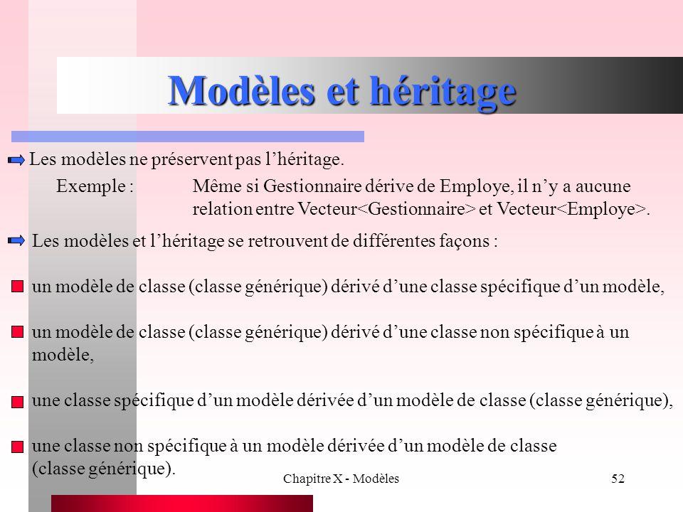 Chapitre X - Modèles52 Modèles et héritage Les modèles et l'héritage se retrouvent de différentes façons : un modèle de classe (classe générique) déri