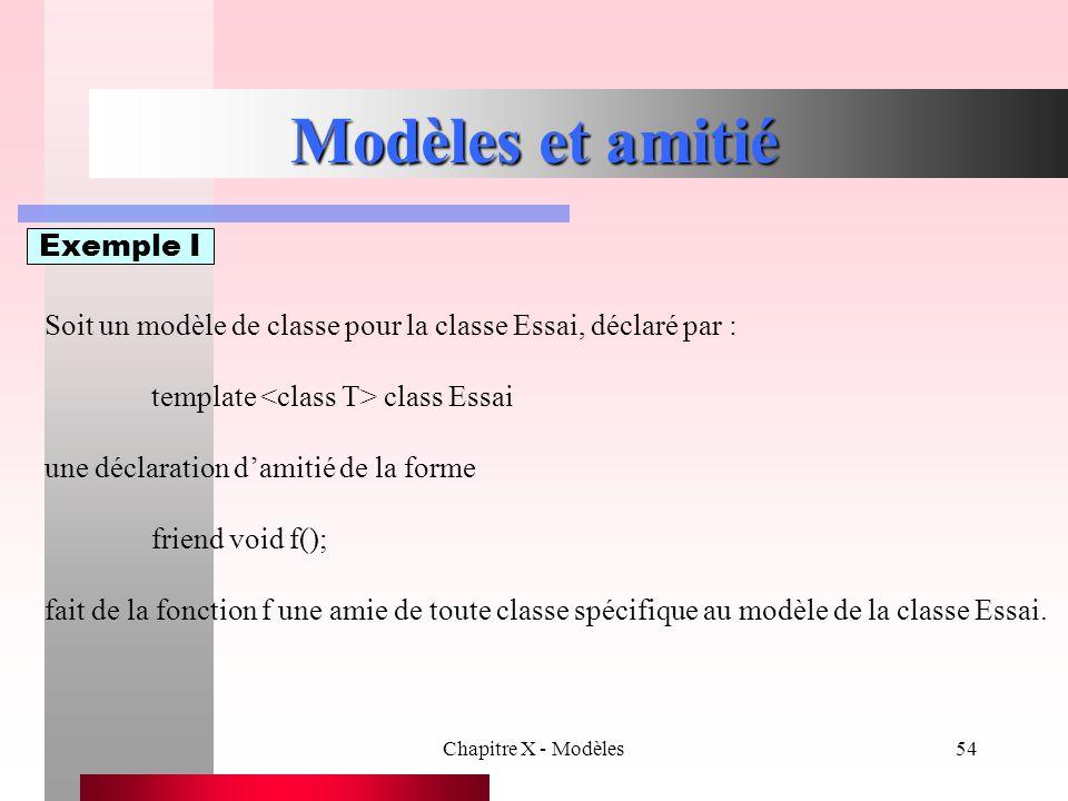 Chapitre X - Modèles54 Modèles et amitié Exemple I Soit un modèle de classe pour la classe Essai, déclaré par : template class Essai une déclaration d