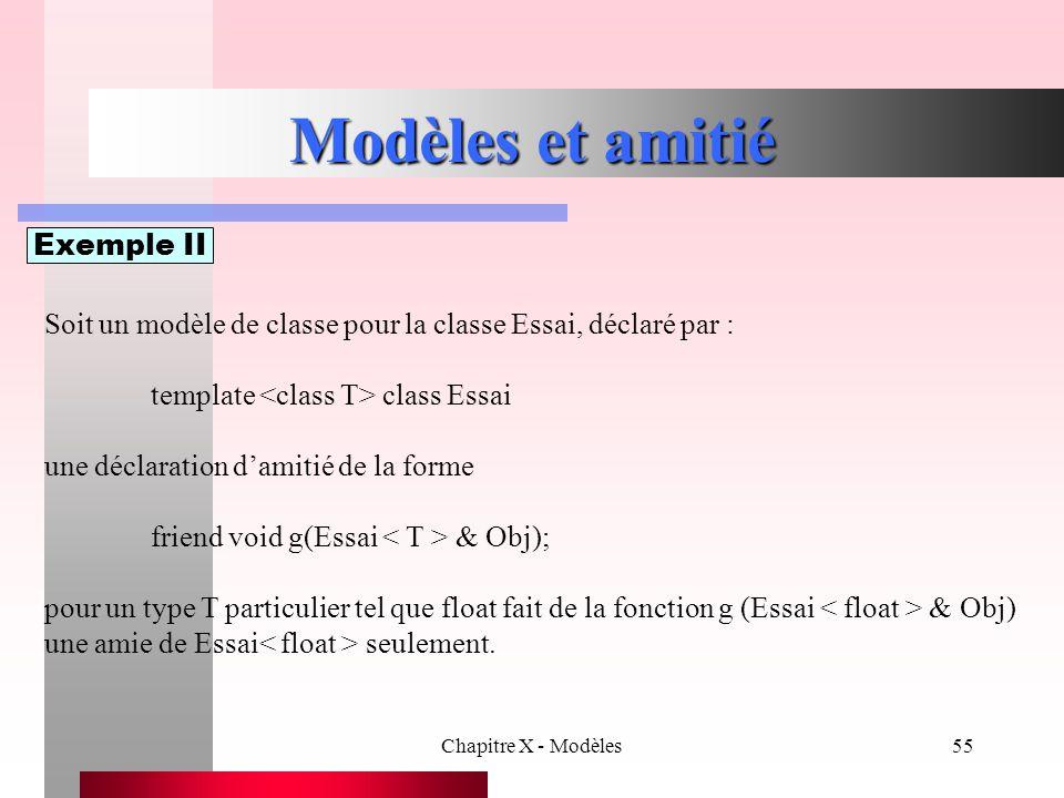 Chapitre X - Modèles55 Modèles et amitié Exemple II Soit un modèle de classe pour la classe Essai, déclaré par : template class Essai une déclaration