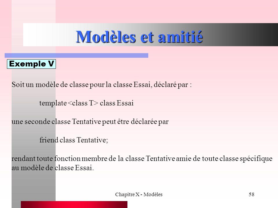 Chapitre X - Modèles58 Modèles et amitié Exemple V Soit un modèle de classe pour la classe Essai, déclaré par : template class Essai une seconde class