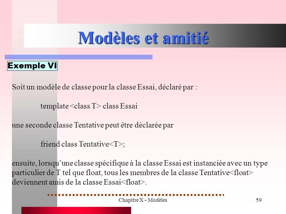 Chapitre X - Modèles59 Modèles et amitié Exemple VI Soit un modèle de classe pour la classe Essai, déclaré par : template class Essai une seconde clas