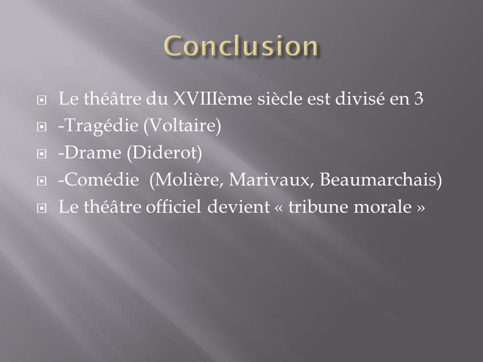  Le théâtre du XVIIIème siècle est divisé en 3  -Tragédie (Voltaire)  -Drame (Diderot)  -Comédie (Molière, Marivaux, Beaumarchais)  Le théâtre officiel devient « tribune morale »