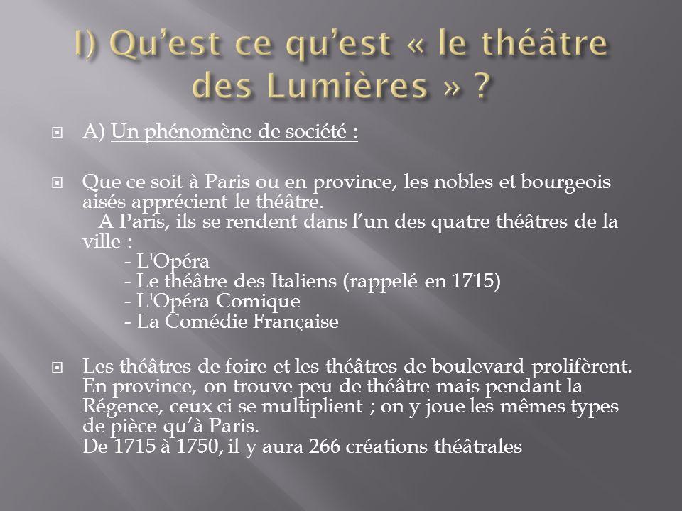  A) Un phénomène de société :  Que ce soit à Paris ou en province, les nobles et bourgeois aisés apprécient le théâtre. A Paris, ils se rendent dans