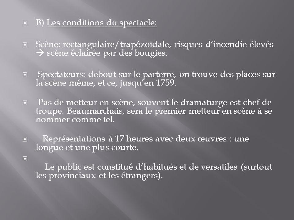  B) Les conditions du spectacle:  Scène: rectangulaire/trapézoïdale, risques d'incendie élevés  scène éclairée par des bougies.  Spectateurs: debo