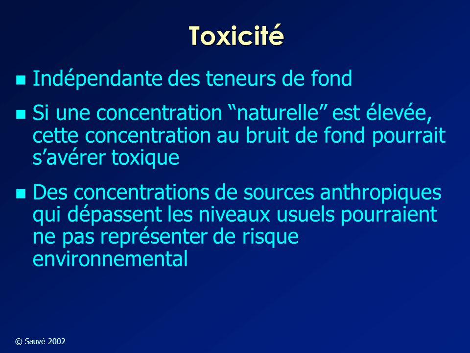 """© Sauvé 2002 Toxicité Indépendante des teneurs de fond Si une concentration """"naturelle"""" est élevée, cette concentration au bruit de fond pourrait s'av"""