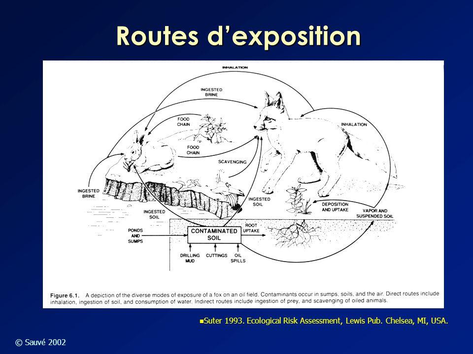 © Sauvé 2002 Routes d'exposition Suter 1993. Ecological Risk Assessment, Lewis Pub. Chelsea, MI, USA.