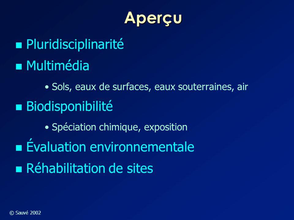 © Sauvé 2002 Pluridisciplinarité Combinaison de plusieurs disciplines permettent l'analyse environnementale  Toxicologie  Biologie  Chimie  Hydrologie  Médicine  Droit – aspects légaux