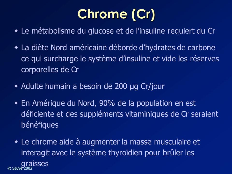 © Sauvé 2002 Chrome (Cr)  Le métabolisme du glucose et de l'insuline requiert du Cr  La diète Nord américaine déborde d'hydrates de carbone ce qui s