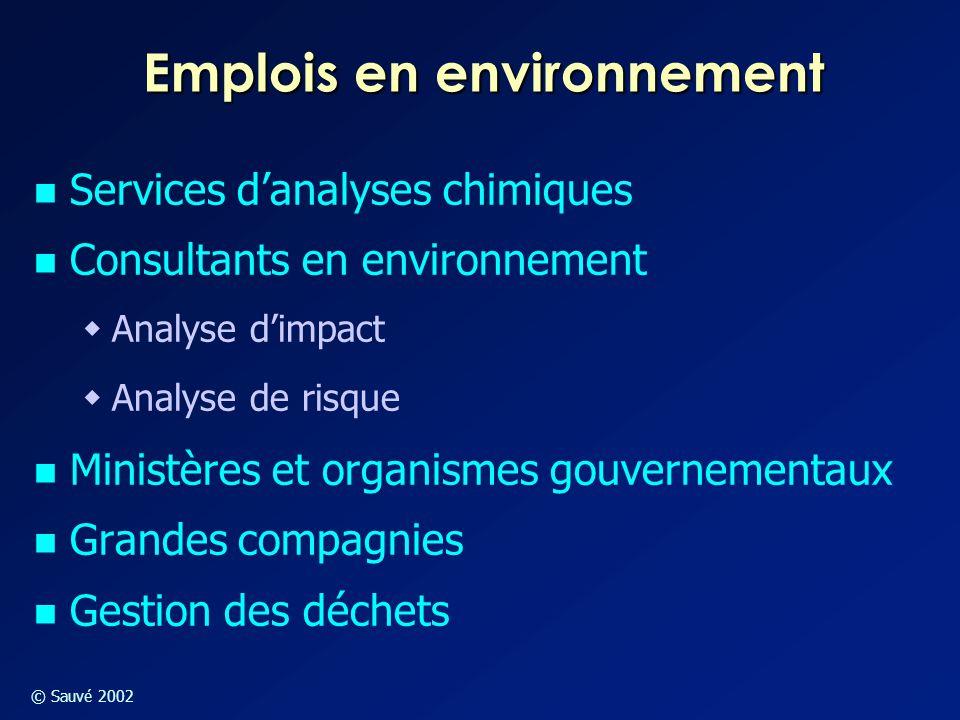 © Sauvé 2002 Emplois en environnement Services d'analyses chimiques Consultants en environnement  Analyse d'impact  Analyse de risque Ministères et
