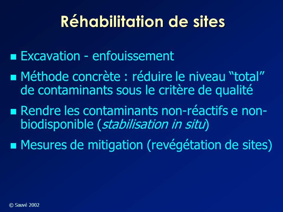 """© Sauvé 2002 Réhabilitation de sites Excavation - enfouissement Méthode concrète : réduire le niveau """"total"""" de contaminants sous le critère de qualit"""