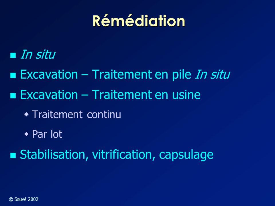 © Sauvé 2002 Rémédiation In situ Excavation – Traitement en pile In situ Excavation – Traitement en usine  Traitement continu  Par lot Stabilisation