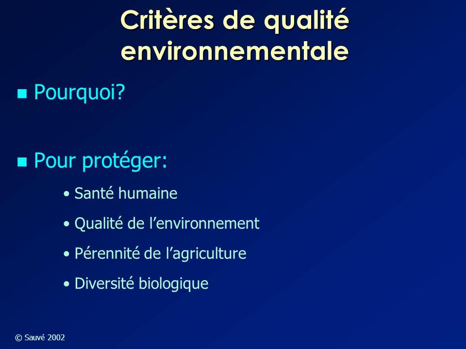 © Sauvé 2002 Critères de qualité environnementale Pourquoi? Pour protéger: Santé humaine Qualité de l'environnement Pérennité de l'agriculture Diversi