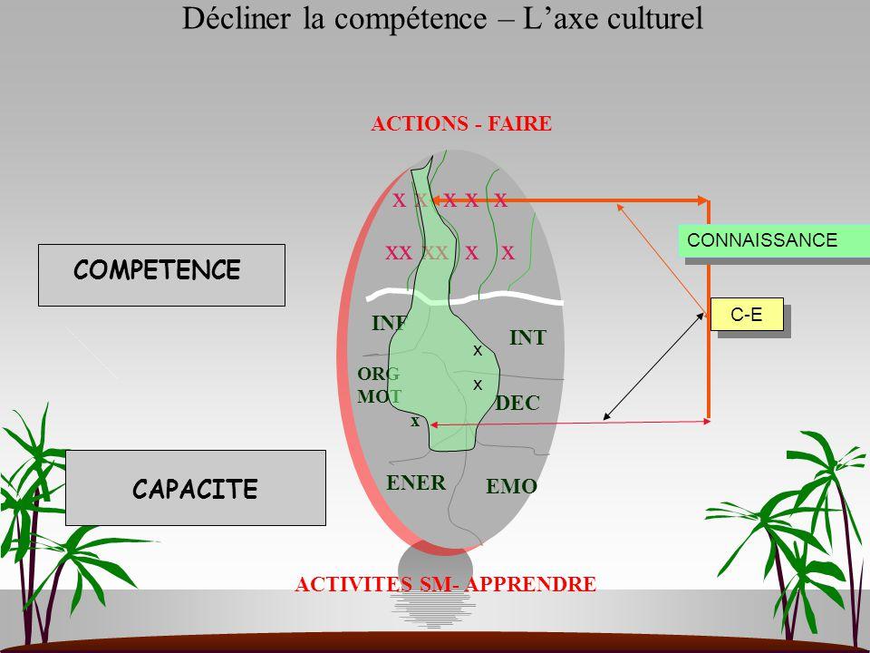 ACTIONS - FAIRE ACTIVITES SM- APPRENDRE ORG MOT x ENER EMO DEC INT INF x x x x x xx xx x x C-E CONNAISSANCE xxxx Décliner la compétence – L'axe cultur