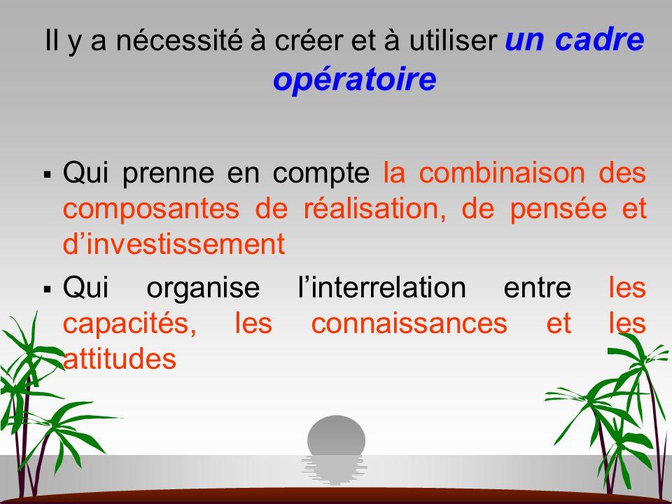 Il y a nécessité à créer et à utiliser un cadre opératoire  Qui prenne en compte la combinaison des composantes de réalisation, de pensée et d'invest