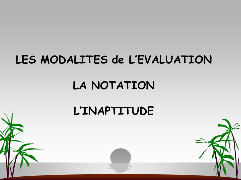 LES MODALITES de L'EVALUATION LA NOTATION L'INAPTITUDE