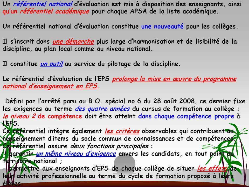 Un référentiel national d'évaluation est mis à disposition des enseignants, ainsi qu'un référentiel académique pour chaque APSA de la liste académique