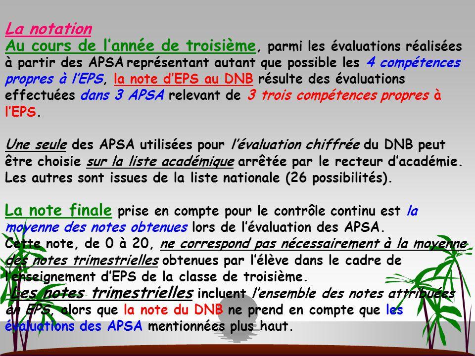 La notation Au cours de l'année de troisième, parmi les évaluations réalisées à partir des APSA représentant autant que possible les 4 compétences pro