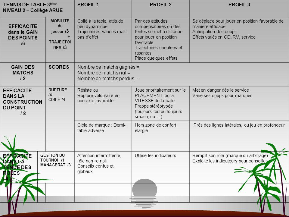 TENNIS DE TABLE 3 ème NIVEAU 2 – Collège ARUE PROFIL 1PROFIL 2PROFIL 3 EFFICACITE dans le GAIN DES POINTS /6 MOBILITE du joueur /3 + TRAJECTOI RES /3