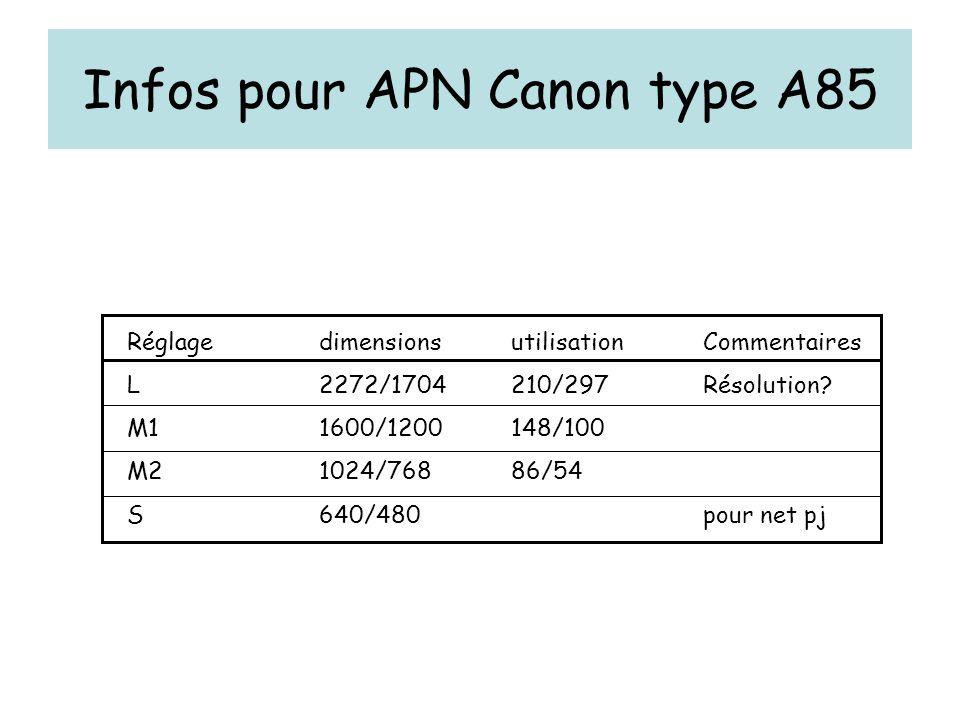 Infos pour APN Canon type A85 RéglagedimensionsutilisationCommentaires L2272/1704210/297Résolution? M11600/1200148/100 M21024/76886/54 S640/480pour ne