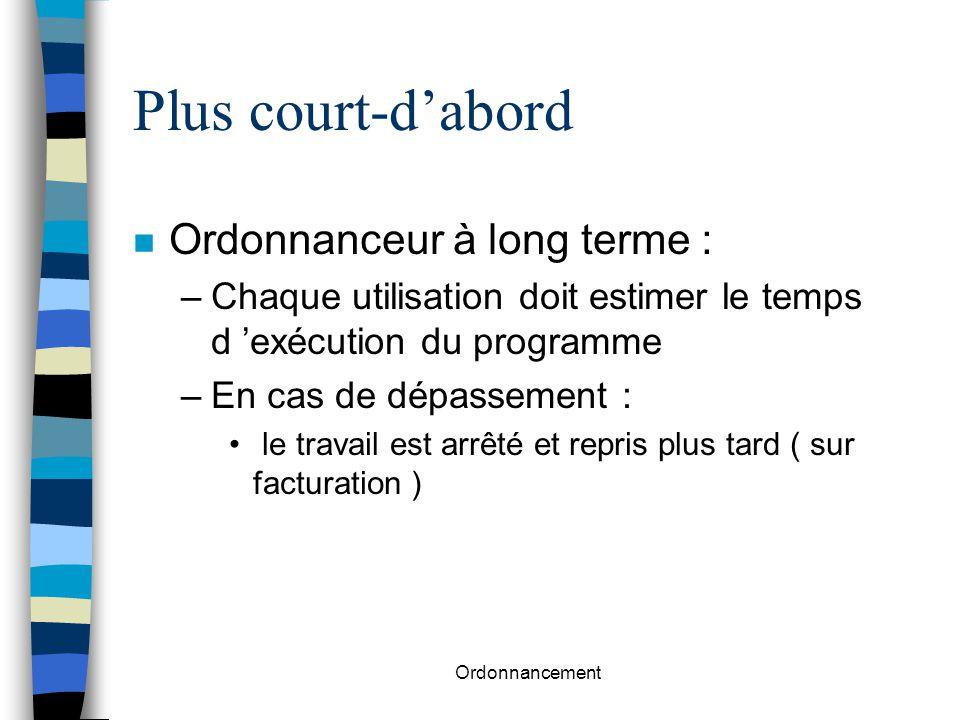Ordonnancement Plus court-d'abord n Ordonnanceur à long terme : –Chaque utilisation doit estimer le temps d 'exécution du programme –En cas de dépasse