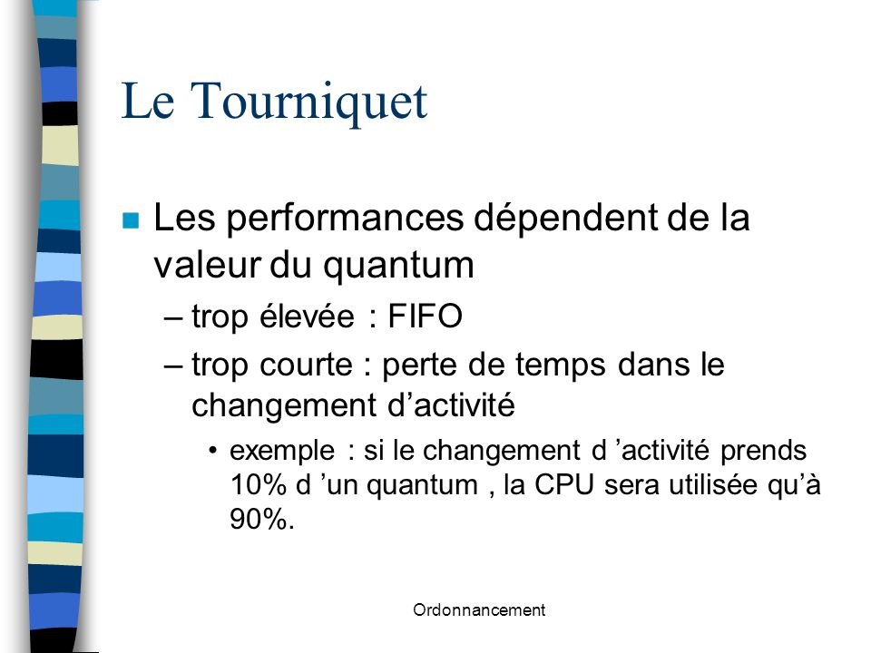 Ordonnancement Le Tourniquet n Les performances dépendent de la valeur du quantum –trop élevée : FIFO –trop courte : perte de temps dans le changement