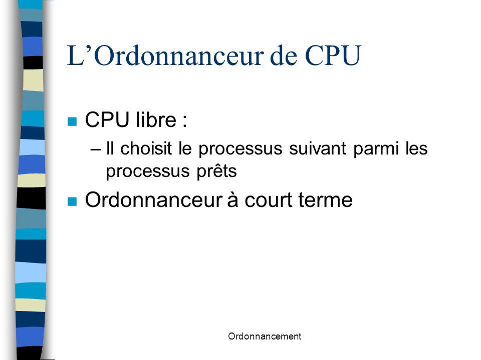 Ordonnancement Ordonnancement avec priorité n Chaque processus possède une priorité n La CPU est donnée à celui qui possède la plus grande priorité n Exemple : plus court d'abord –priorité = inverse du prochain temps CPU