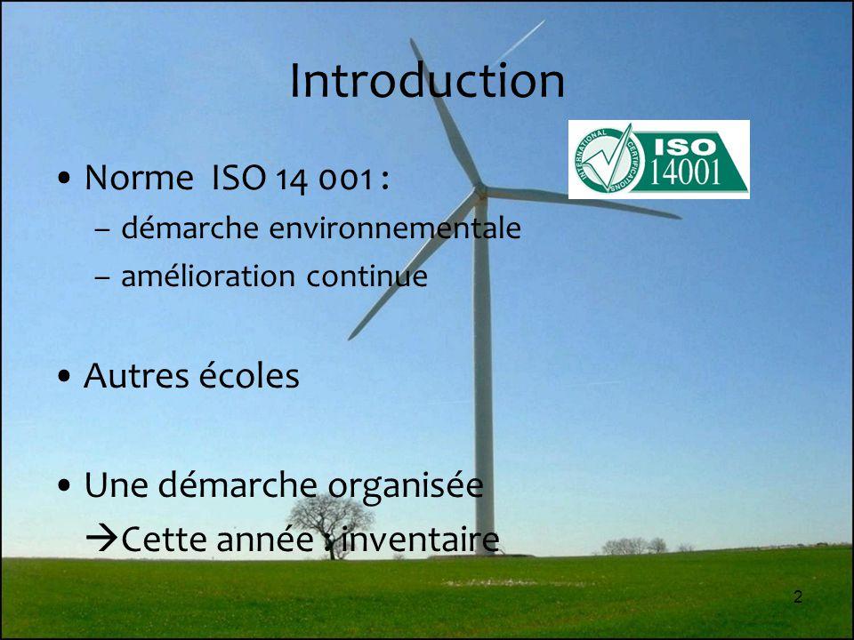 2 Introduction Norme ISO 14 001 : –démarche environnementale –amélioration continue Autres écoles Une démarche organisée  Cette année : inventaire