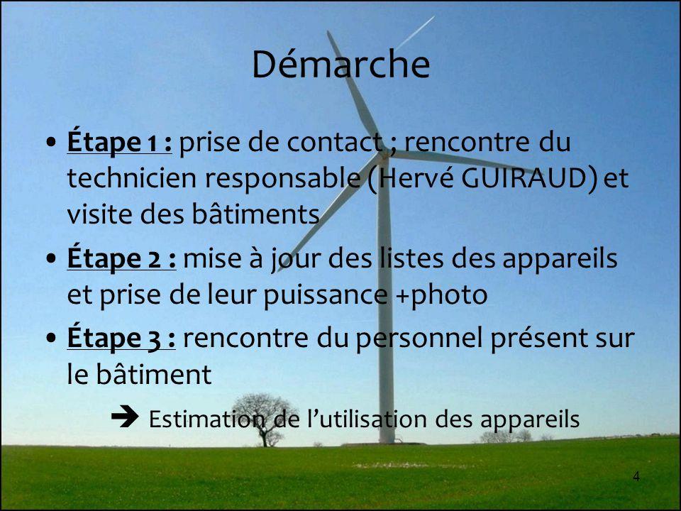 4 Démarche Étape 1 : prise de contact ; rencontre du technicien responsable (Hervé GUIRAUD) et visite des bâtiments Étape 2 : mise à jour des listes d