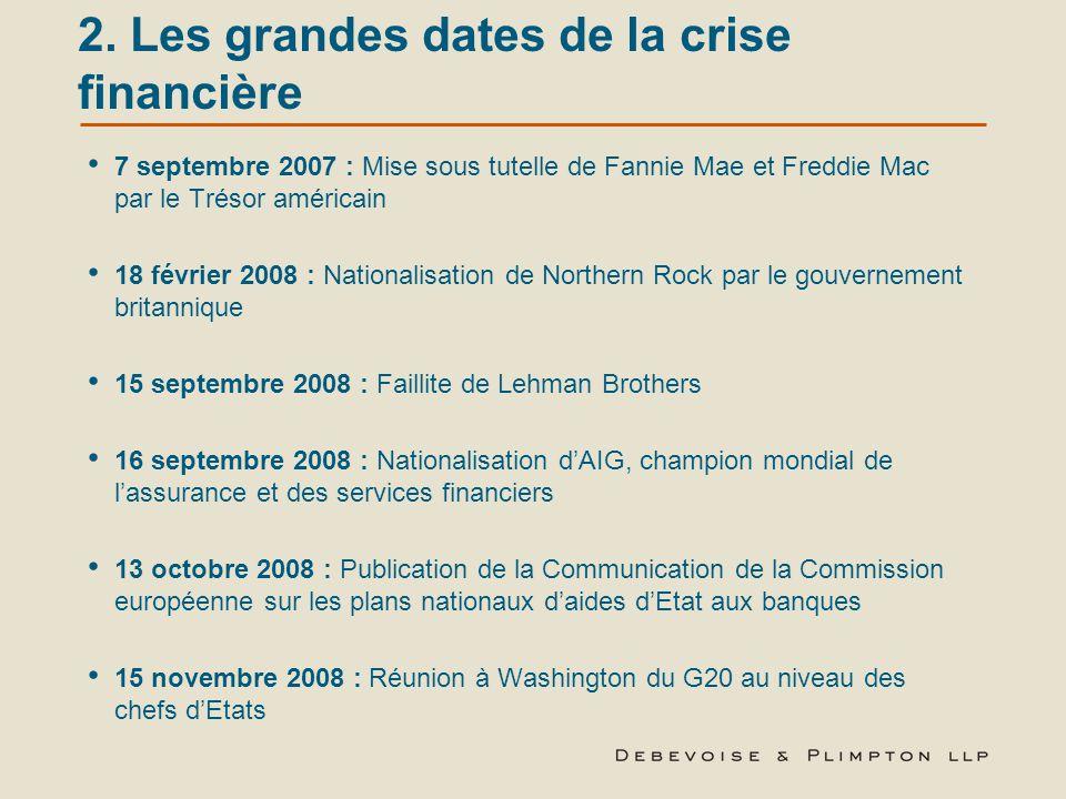 2. Les grandes dates de la crise financière 7 septembre 2007 : Mise sous tutelle de Fannie Mae et Freddie Mac par le Trésor américain 18 février 2008