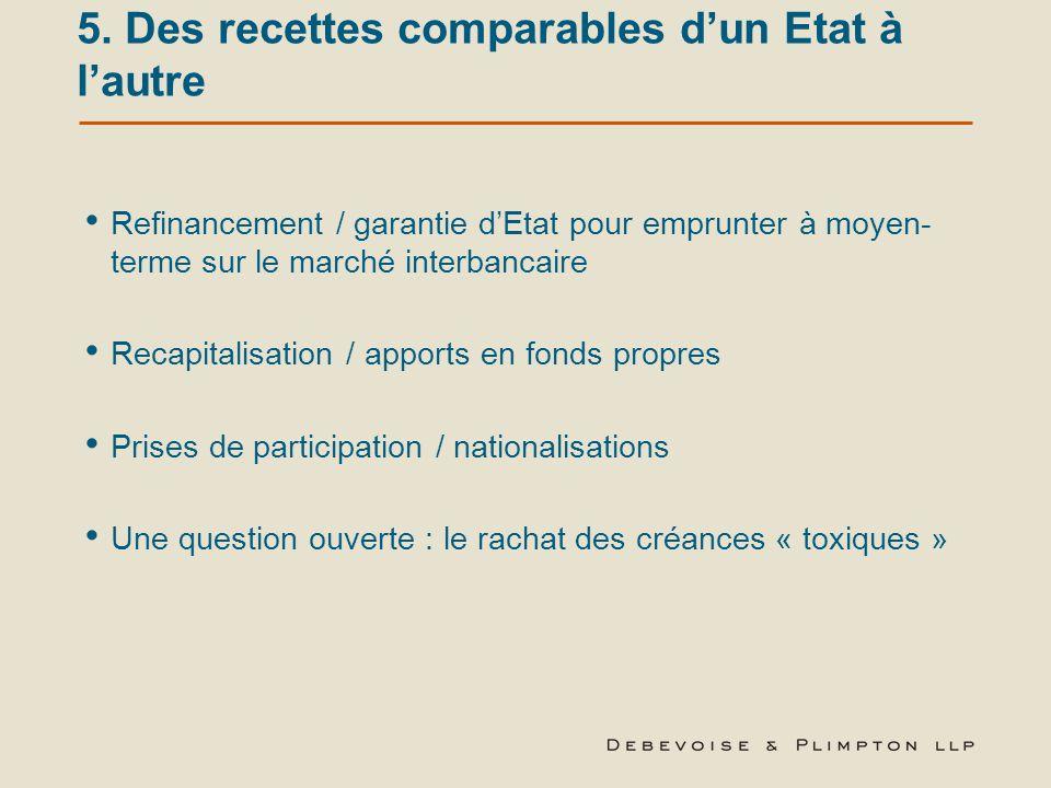 5. Des recettes comparables d'un Etat à l'autre Refinancement / garantie d'Etat pour emprunter à moyen- terme sur le marché interbancaire Recapitalisa