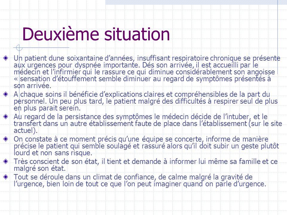 Deuxième situation Un patient dune soixantaine d'années, insuffisant respiratoire chronique se présente aux urgences pour dyspnée importante. Dés son