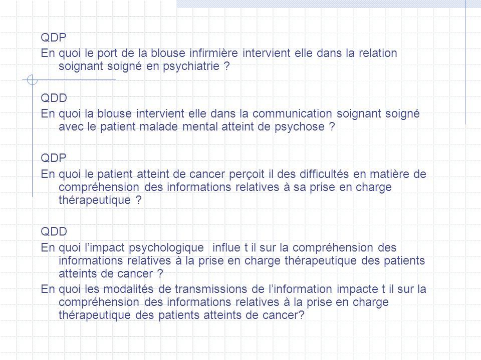 QDP En quoi le port de la blouse infirmière intervient elle dans la relation soignant soigné en psychiatrie ? QDD En quoi la blouse intervient elle da