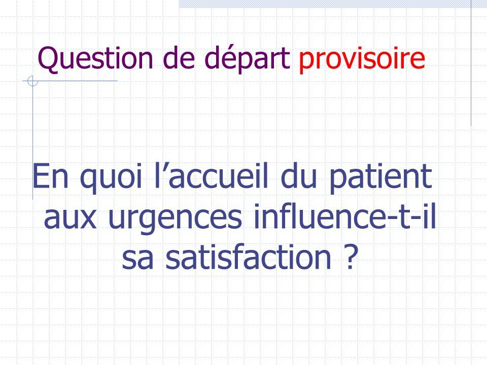 Question de départ provisoire En quoi l'accueil du patient aux urgences influence-t-il sa satisfaction ?