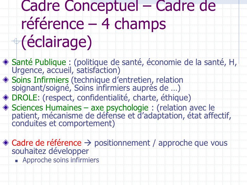 Cadre Conceptuel – Cadre de référence – 4 champs (éclairage) Santé Publique : (politique de santé, économie de la santé, H, Urgence, accueil, satisfac